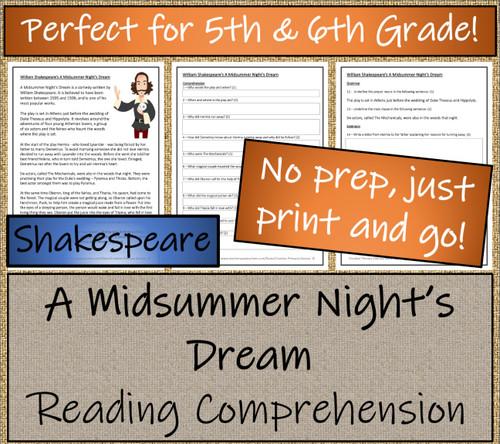 Shakespeare's A Midsummer Night's Dream Close Reading Activity | 5th & 6th Grade