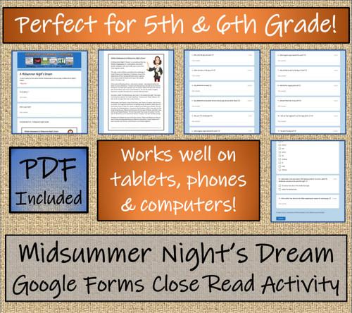 Midsummer Night's Dream Close Reading Activity Digital & Print | 5th & 6th Grade