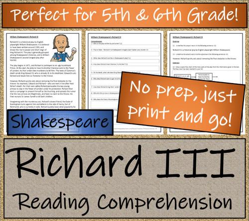 William Shakespeare's Richard III Close Reading Activity | 5th Grade & 6th Grade