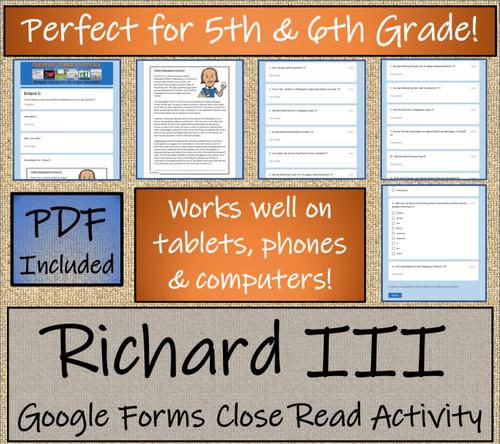 Richard III Close Reading Activity Digital & Print | 5th Grade & 6th Grade