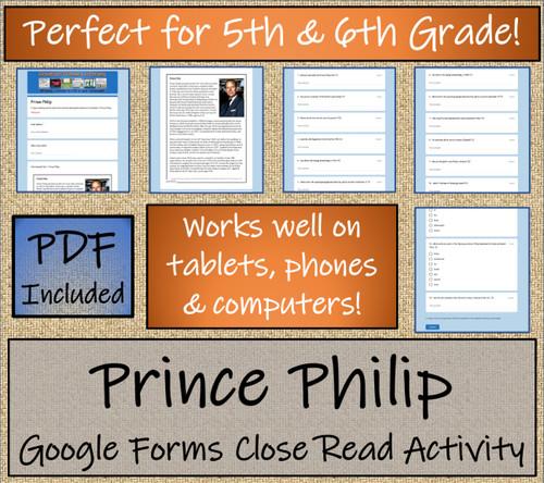 Prince Philip Close Reading Activity Digital & Print | 5th Grade & 6th Grade