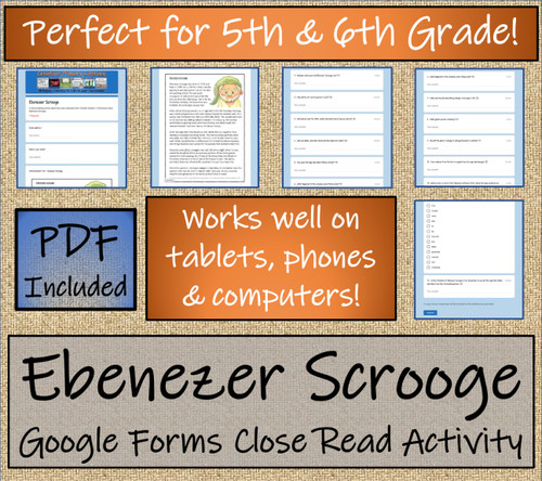 Ebenezer Scrooge Close Reading Activity Digital & Print | 5th Grade & 6th Grade