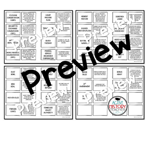Great Depression New Deal Activity Vocabulary Matching Review Hands On EOC Review FREE
