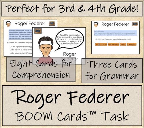 Roger Federer BOOM Cards™ Comprehension Activity 3rd Grade & 4th Grade