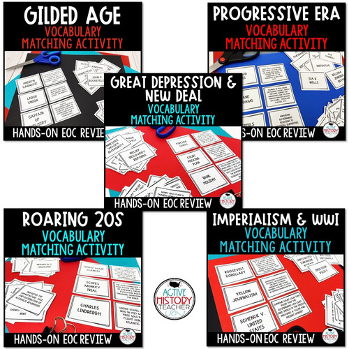 US History Review Bundle Vocabulary Matching Hands-On EOC Review