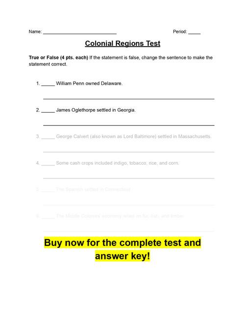 Colonial Regions Test (w/ Answer Key)