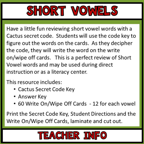 Short Vowel Words, Secret Code  Literacy Center
