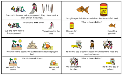 Main Idea Task Cards for Special Education