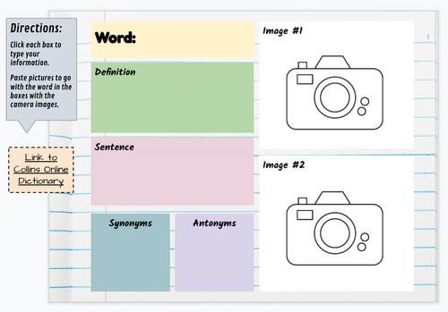 Digital Vocabulary Journal Template | Google Drive