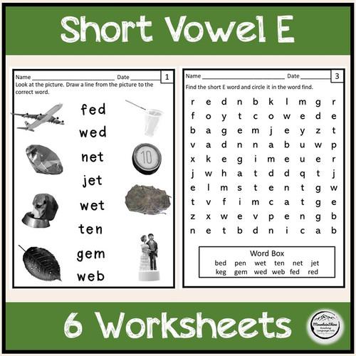 CVC Short Vowel E Bundle Make-A-Word, Puzzles, Worksheets & Flashcards
