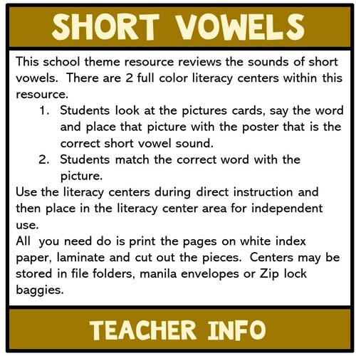 Short Vowels  Literacy Centers
