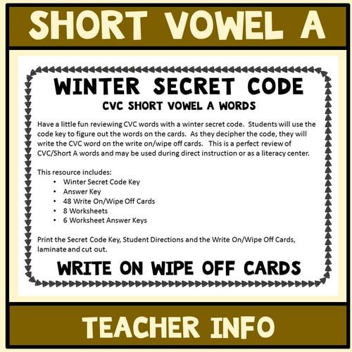 Short Vowel Aa Words, Secret Code  Literacy Center