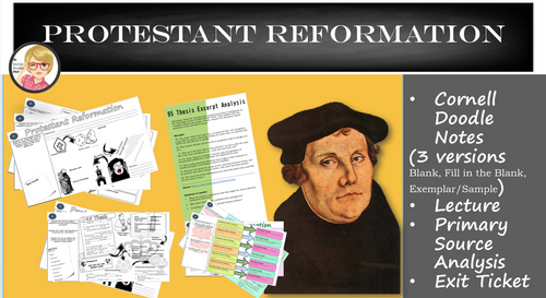 Protestant Reformation Doodle Notes & Primary Source Analysis