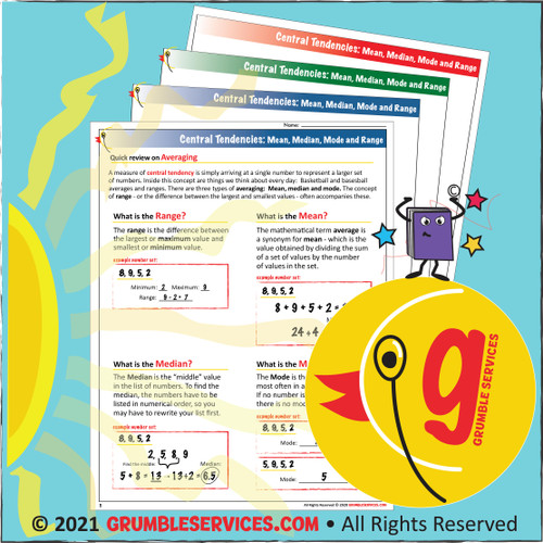 Averaging & Central Tendencies BUNDLE: Elementary Montessori Math help Classroom Materials - Practice pages (4 + Key), Word Problems (20 + Key) and Range, Mean, Mode, Median GUIDE