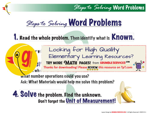 Word Problems: 4 Steps to Solving Story Problems - Elementary Montessori Math help GUIDE Material (2 pages)