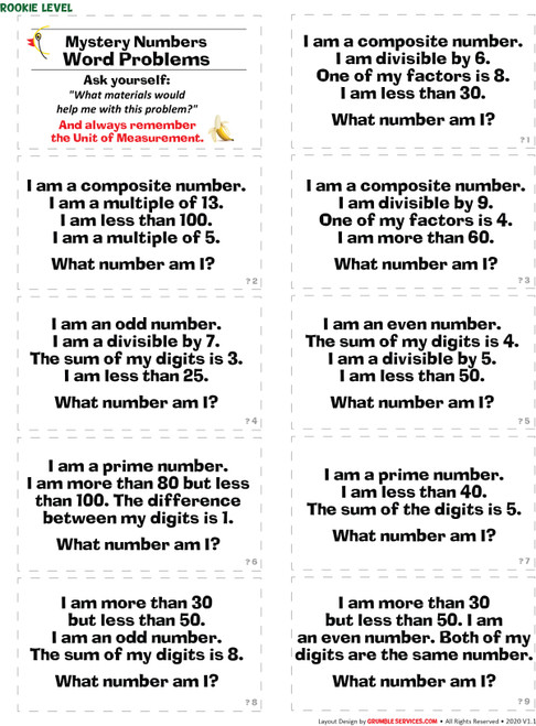 Math Word Problems BUNDLE: Elementary Montessori Math help Classroom Materials -  Mystery Numbers, Money, Fractions, Ratios & Proportions (160 Story Problems +Key) & GUIDE