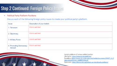 Presidential Campaign Assignment President Government Political Parties Project