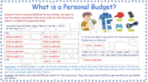 Budgeting, Spending, and Saving for Elementary Economics Personal Finance