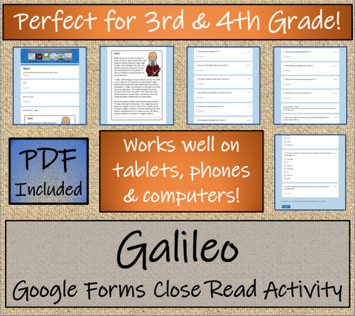 Galileo Close Reading Activity Digital & Print | 3rd Grade & 4th Grade