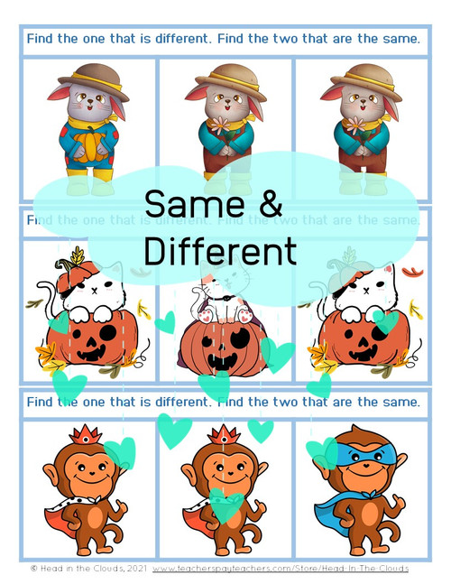 Same & Different - Autumn Animals - Matching & Find the Difference