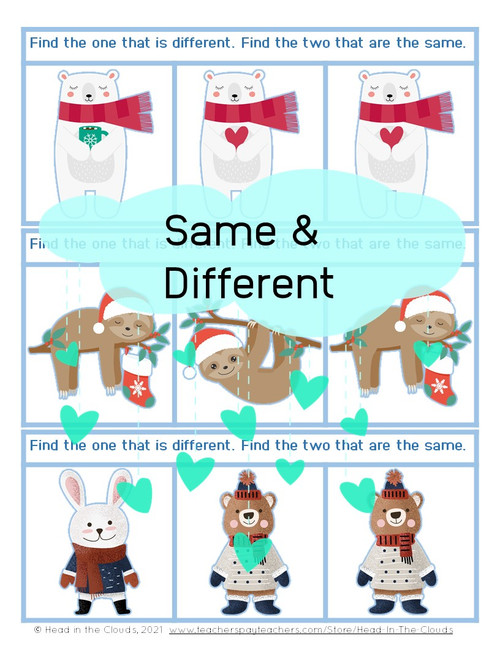 Same & Different - Winter Animals - Matching & Find the Difference