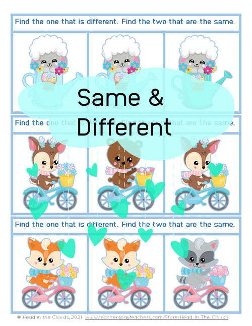 Same & Different - Spring Animals - Matching & Find the Difference