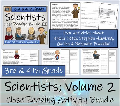 Famous Scientists Volume 2 Close Reading Activity Bundle | 3rd Grade & 4th Grade