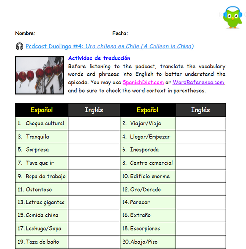 Listening Activity Guide | Duolingo Spanish Podcast #4: Una chilena en Chile