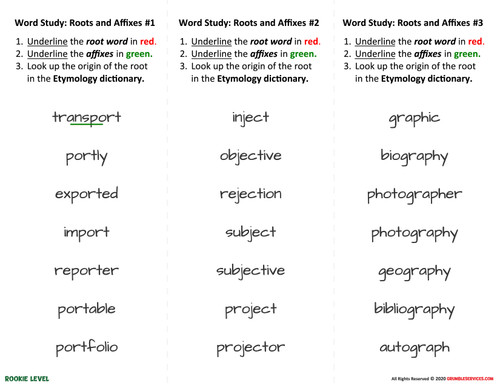 Word Families: Roots and Affixes - 12 ROOKIE Word Study Cards - Elementary Montessori Language help & Creative Writing Materials
