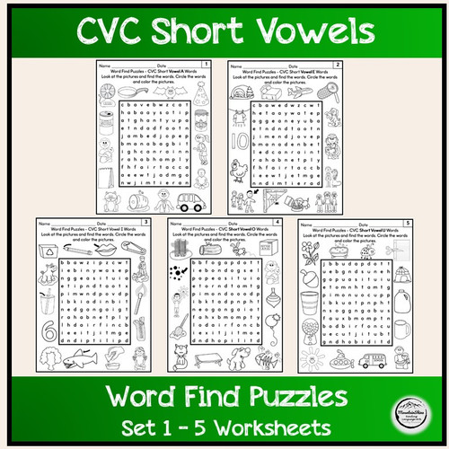 Word Find Puzzles CVC Short Vowel