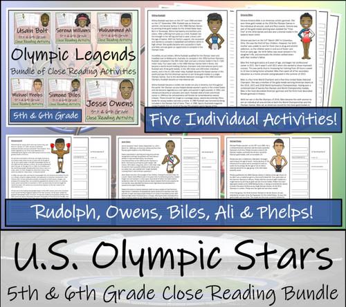 U.S. Olympic Stars Close Reading Activity Bundle | 5th Grade & 6th Grade
