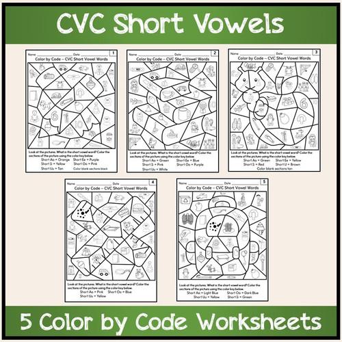 Color by Code Worksheets CVC Short Vowel