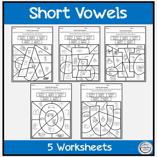 Color by Code Worksheets with Picture Cards CVC Short Vowel