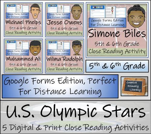 U.S. Olympic Stars Close Reading Bundle Digital & Print | 5th & 6th Grade