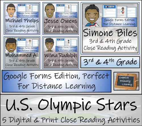 U.S. Olympic Stars Close Reading Bundle Digital & Print | 3rd & 4th Grade