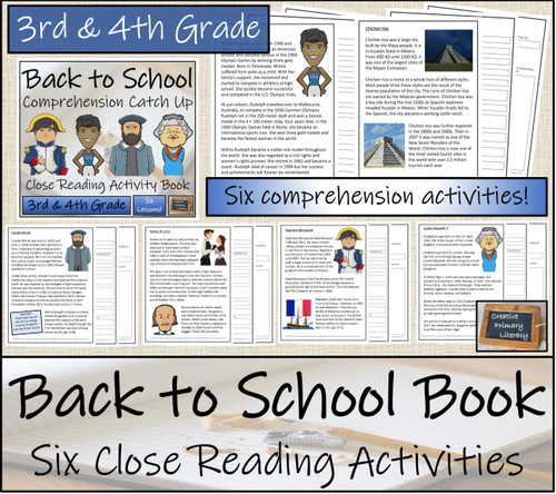 Back to School Comprehension Catch Up Close Reading Book | 3rd Grade & 4th Grade