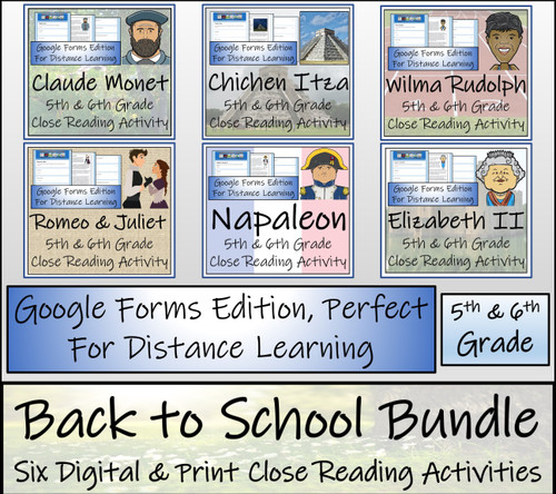 Back to School Comprehension Activity Bundle Digital & Print | 5th & 6th Grade
