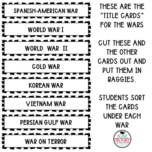 US History EOC Review Unscramble the Wars Activity