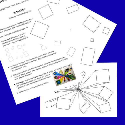 One-Point Perspective Area and Perimeter Math & Art Project with Ruler Measurement