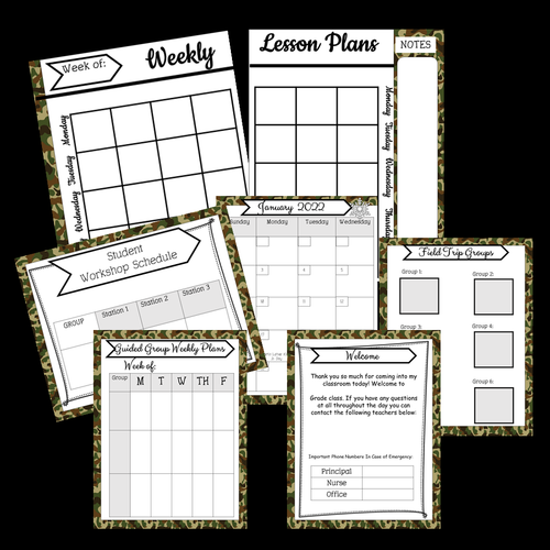 Editable Teacher Binder Planner Camouflage Themed