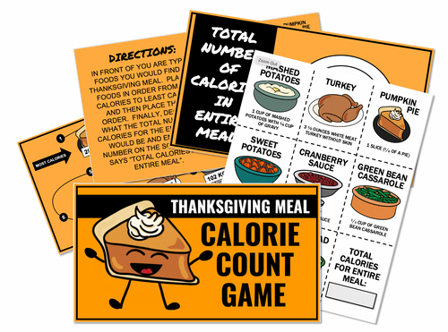 Thanksgiving Meal Calorie Count Game- Great for teaching Nutrition!