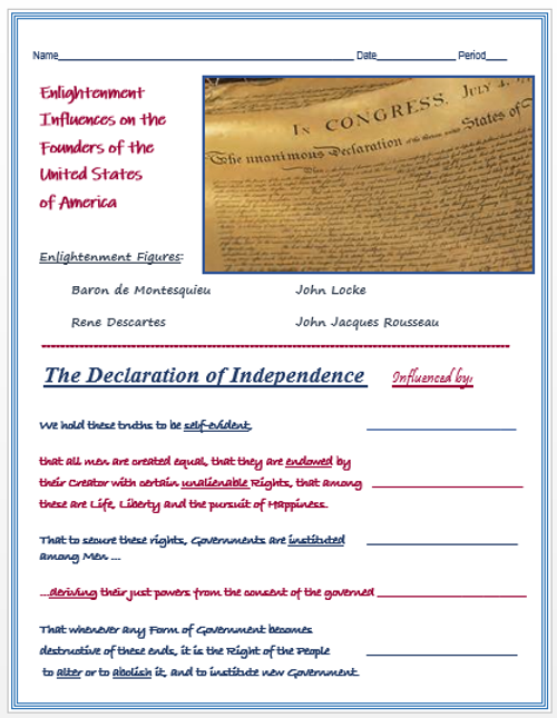 Enlightenment Influence on the Founding Fathers + Assessments