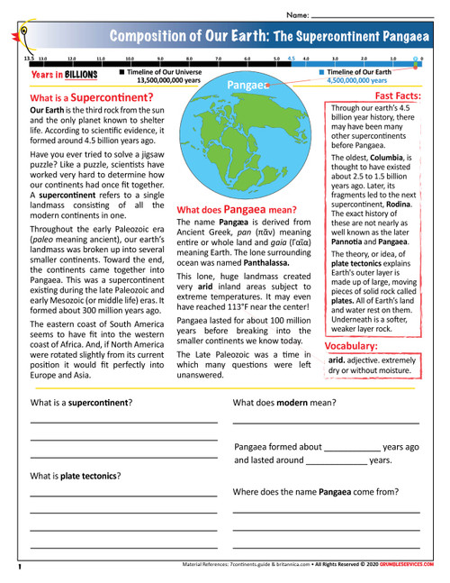 Earth: Supercontinent Pangea - Elementary Montessori Science help printable pages (2 + Key)