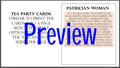 Roman Society Tea Party Activity and Worksheet