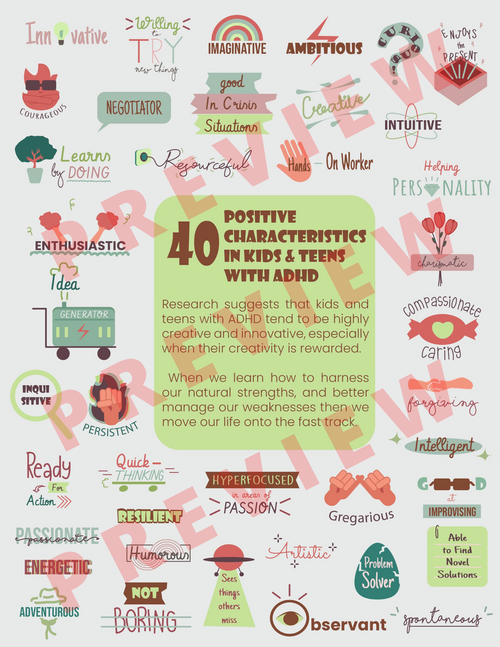 ADHD Printable Poster Handout - 40 Positive Characteristics In Kids & Teens - Strength-Based ADD Attention Deficit Hyperactivity Disorder