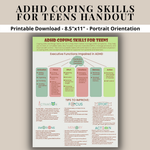 ADHD Coping Skills For Teens Printable Poster - Executive Funtioning Skills - Teen ADHD Strategies ADD Attention Deficit Hyperactivty Disorder
