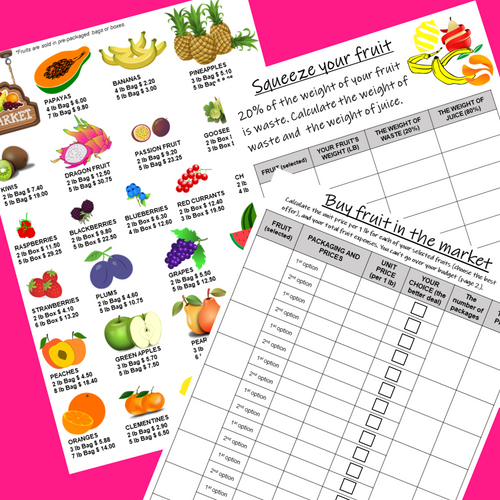 CREATE FRUIT JUICE PBL Math Enrichment Unit Rates Percent Project Based Learning