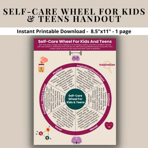 Self-Care Wheel For Kids & Teens Printable Poster-Mental Health-Stress-Trauma-Depression-Anxiety