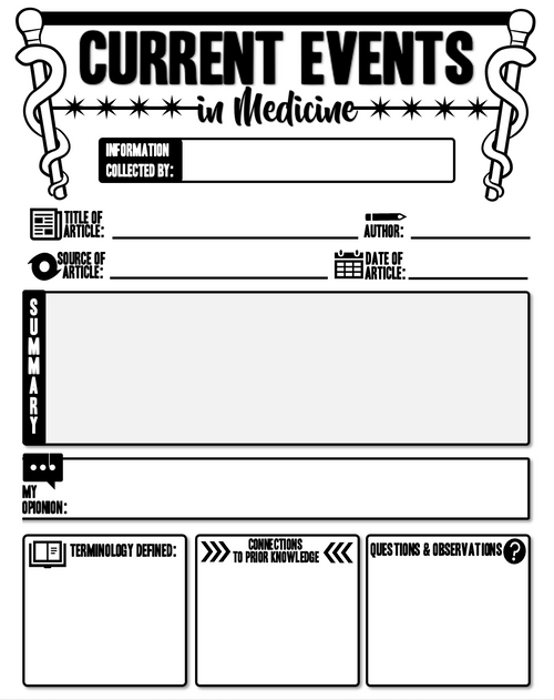 Current Events in Medicine Graphic Organizer Template! FREE!