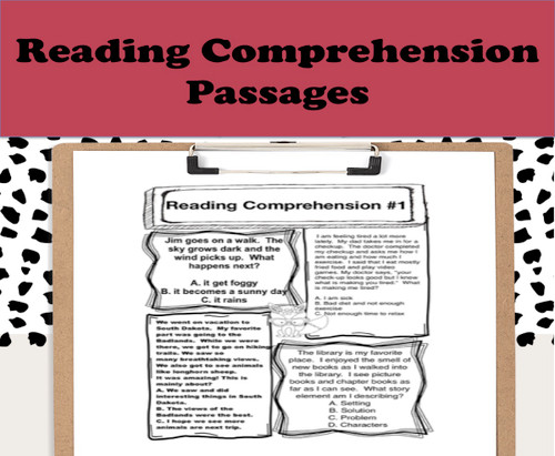 One month of reading comprehension that includes: story elements(problem, solution, setting, characters), predicting, critical thinking, inferences, and main idea. A total of 20 lessons are included and is perfect for back to school. Each day has four different comprehension strategies and short passages to keep students engaged!